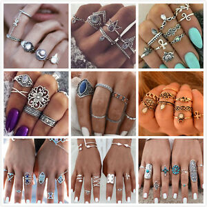 10Pcs-Women-Crystal-Silver-Gold-Boho-Fashion-Moon-Midi-Finger-Knuckle-Rings-Set
