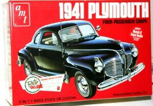 1941-Plymouth-Coupe-Four-Passenger-AMT-Plastic-Model-Kit-Sealed-Box-1-25-Scale