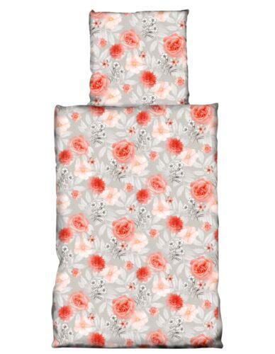 4 tlg Bettwäsche 155x220cm Blumen Rose rot grau Übergröße 2 Garnituren