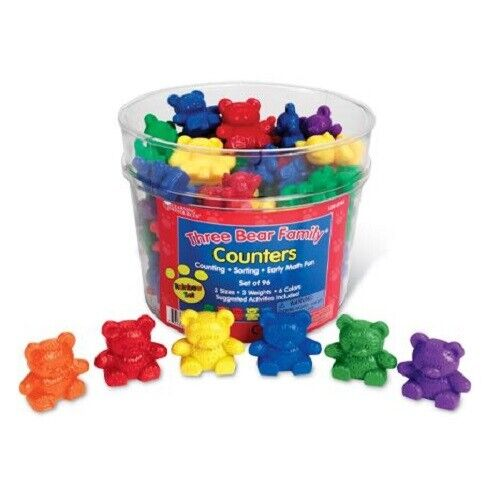 The RAINBOW BEARS Three sizes pre school maths sorting counting colours 96