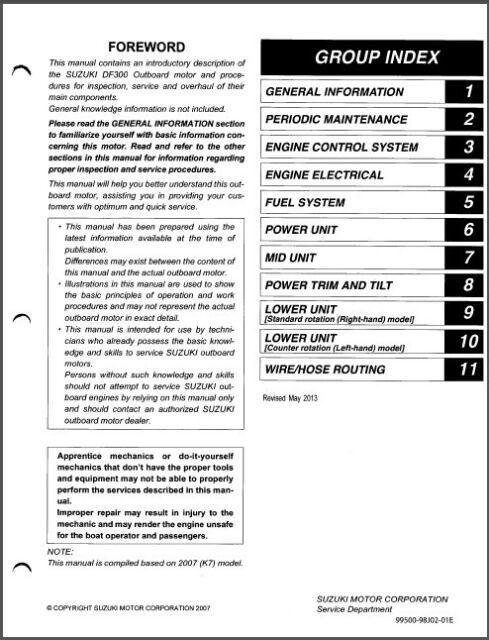 suzuki df25 v twin four stroke outboard motor service repair manual rh ebay com suzuki df 300 service manual pdf suzuki df 300 service manual download