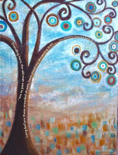 Dreaming Tree Abtsract Wall Art Poster Print w// Dave Matthews Band DMB lyrics