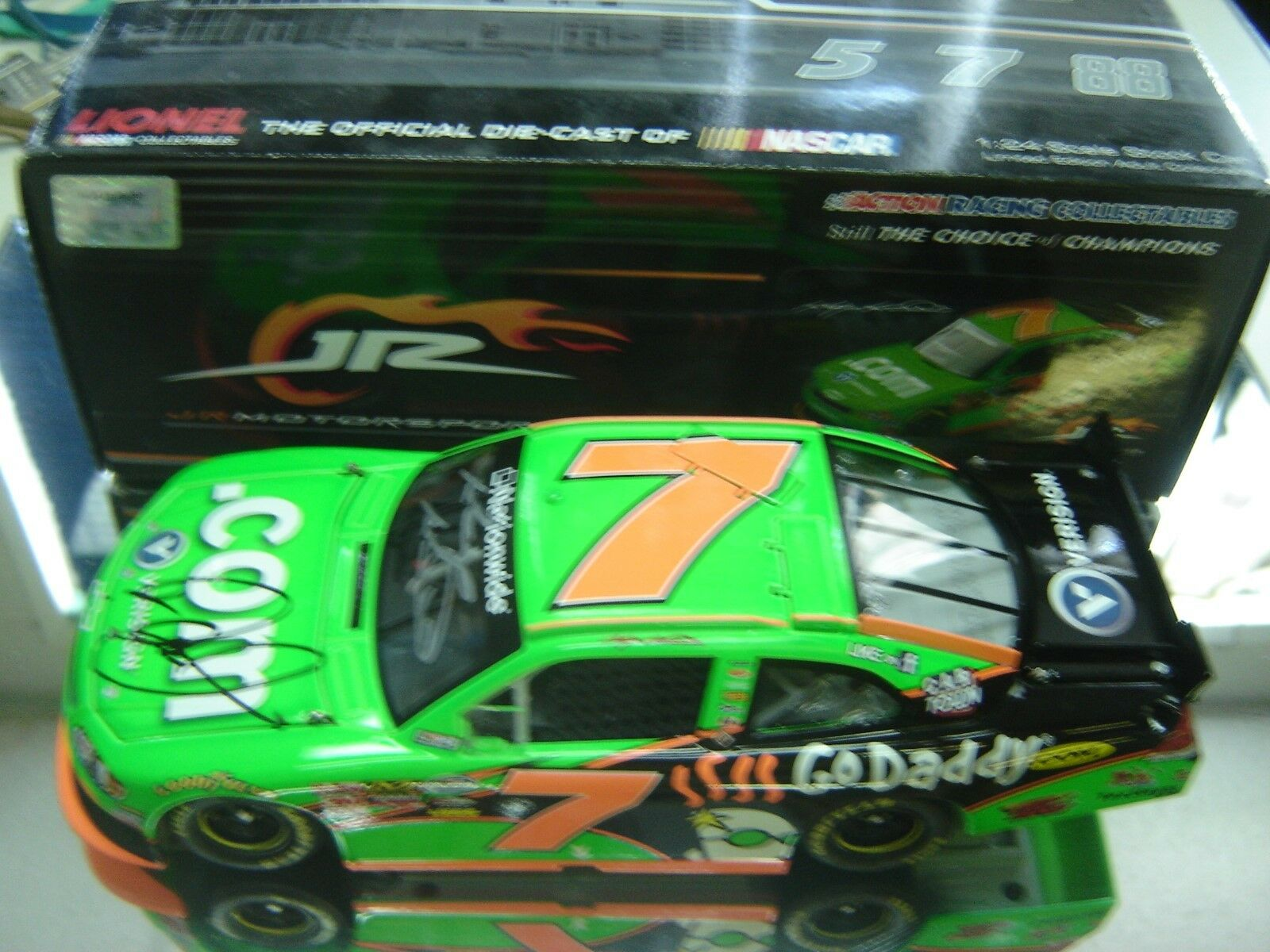 RARE    2011 KASEY KAHNE GODADDY.COM DOUBLE SIGNED KASEY & DALE JR 1 24 ACTION