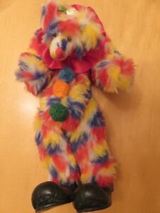 "D'Bears Artist Bear colorful Binky Clown 8"""