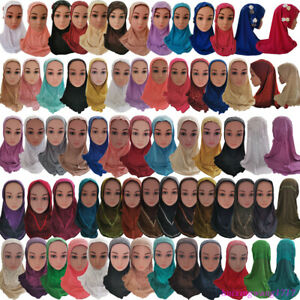 Kids-Girls-Flower-Amira-Hijab-Cap-Muslim-Scarf-Shawl-Islamic-Hat-Underscarf-Arab