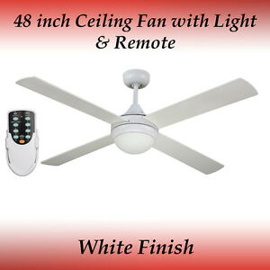 Revolve 48 inch Ceiling Fan in White with Light and Remote