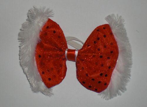 Fluffy polka dot rouge noël bow tie