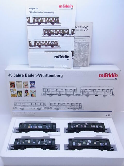 kv 743 sch nes m rklin h0 4392 wagen set 40 jahre baden w rttemberg 4 tlg ovp ebay. Black Bedroom Furniture Sets. Home Design Ideas