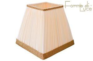 Dettagli su paralume a tronco di piramide 25 cm. plissettato bianco avorio paraluce cappello
