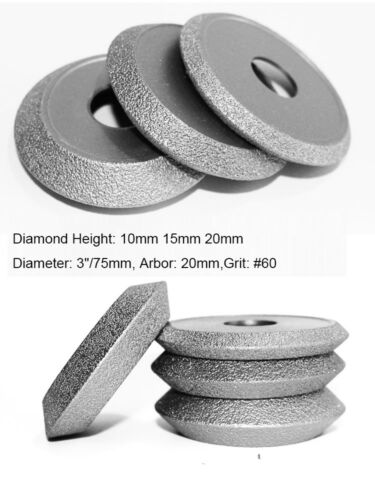 "Brazed Diamond Grinding Wheel 3/"" 75mm Abrasive Vacuum Disc Convex Concave"