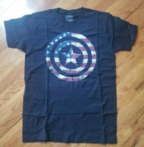 Avengers-Captain-America-distressed-logo-Black-T-Shirt-New-Official-Adult-size-M