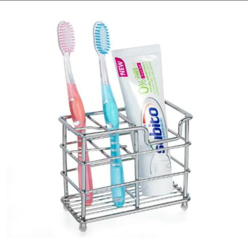 Stainless Steel Bathroom Toothbrush Toothpaste Holder Case Stand Organizer NEW S