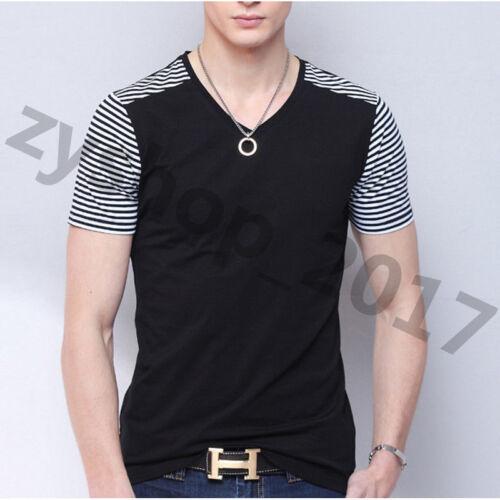 Men/'s V-neck Casual Shirts Collar Stitching Stripe T-shirt Short Sleeve Tee Tops
