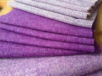 "Harris Tweed Fabric 100% wool - ""Purple"" colours - with labels- craft"