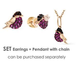 New-SET-Earrings-Pendant-Russian-Rose-Gold-14K-585-SOKOLOV-zirconia-fine-jewelry