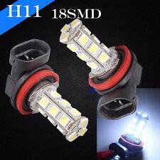 H11 Xenon LED 18 SMD Bright White 6000K 12v Headlight 2 x Light Bulb Low Beam