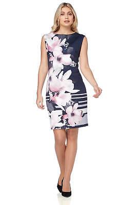 Roman Originals Women/'s Blue Butterfly Border Print Dress Sizes 10-20
