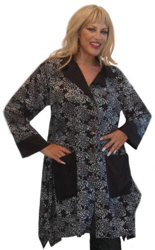 jacket tunic shirt batik M L XL 1X 2X 3X 4X 5X 6X rayon collar pockets