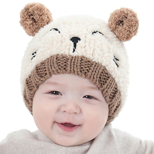 Baby Newborn Toddler Kid Girl Boy Winter Warm Cat Hat Beanie Earflap Knitted Cap