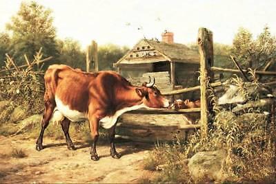 Old Farm Cow with Calf Barn by Arthur Fitzwilliam Tait