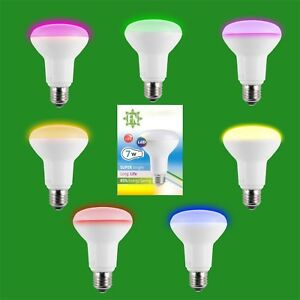 2x-7w-LED-R80-De-Color-Reflector-Disco-Bombilla-Foco-ES-E27-Lampara-Rosca