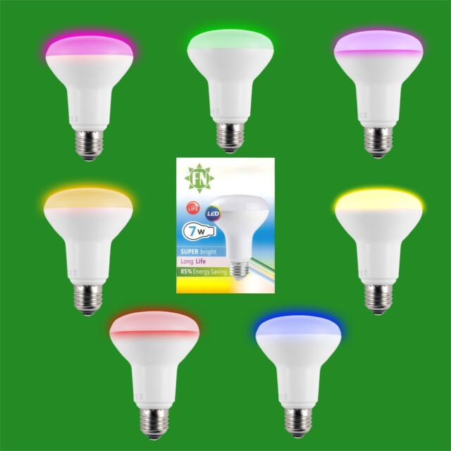4x 7w LED R80 De Color Reflector Disco Bombilla Foco ES E27 Lámpara Rosca