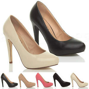 WOMENS-LADIES-HIGH-HEEL-CONCEALED-PLATFORM-COURT-SHOES-PARTY-PROM-PUMPS-SIZE