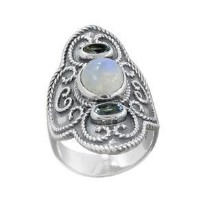 Rainbow-Moonstone-Ring-925-Sterling-Silver-Ring-Handmade-Designer-Ring-Size-7