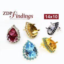 Choose you 2pcs x Teardrop 14x10mm Bezel Rhinestone Earrings Fit Swarovski 4320