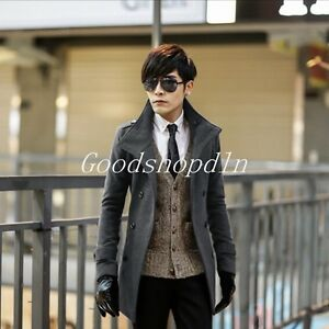 Korean Fashion Mens Double-Breasted Slim Mid Long Wool Trench Coat ...