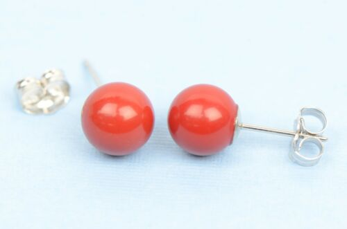 Sterling Silver 925 Red Round Coral Stud Earrings 4-8mm with Push Back