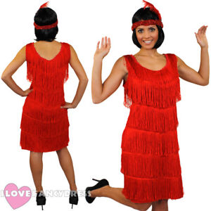 1e10643e Image is loading DELUXE-RED-FRINGE-FLAPPER-FANCY-DRESS-ADULT-CHARLESTON-