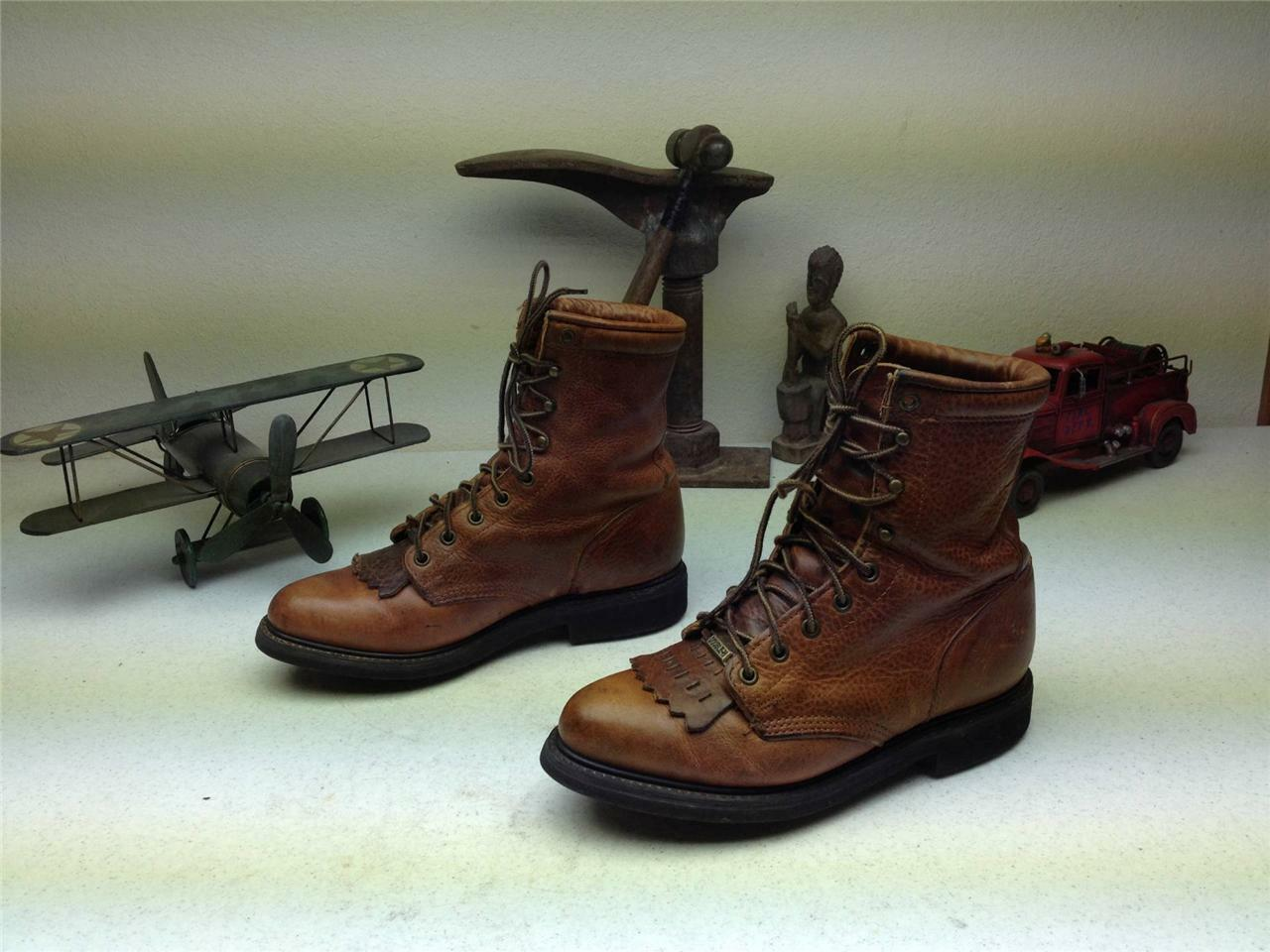 BROWN LEATHER DOUBLE H LACE UP KILTIE MADE IN USA WESTERN COWBOY BOOTS 8D