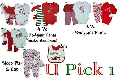 Christmas My 1st Outfit Holiday Girls Bodysuit Pants Socks Bib Set day Santa