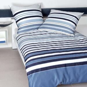 Details Zu Janine Mako Satin Bettwäsche J D Design 87040 02 Blau Weiß Gestreift Modern