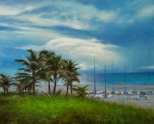 Beautiful-beach-Sandy-Shore-Atlantic-Shores-Small-boats-Palm-tree-Ocean-ART