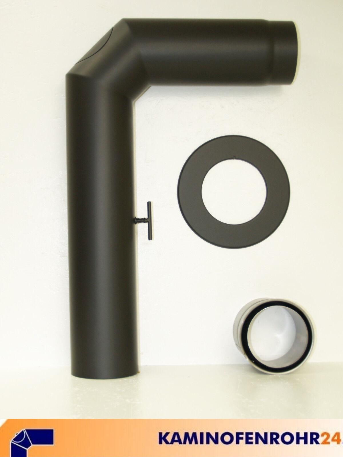 Ofenrohr Rauchrohrset 3tlg mit Drosselklappe Stahl Senotherm schwarz Ø 180 mm