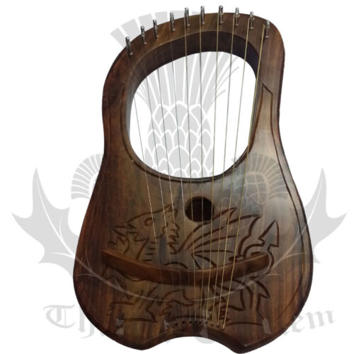 New Lyre Harp 10 Metal Strings Celtic Dragon Design/Lyra Harp Welsh Dragon + Key