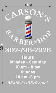 CUSTOM-18-034-x-30-034-VINYL-DECAL-FOR-BARBER-SHOP-WITH-HOURS-WALL-OR-WINDOW-NEW