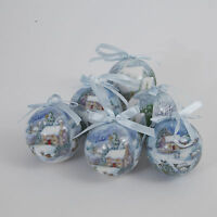 Set of 6 Snow scene design Christmas Tree decoupage baubles  NEW  19150