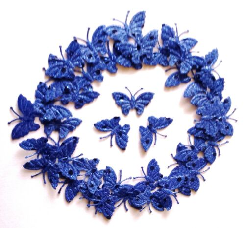 100 Royal Blue Fabric Glittery Butterflies for D I Y Card Crafting /& Sewing