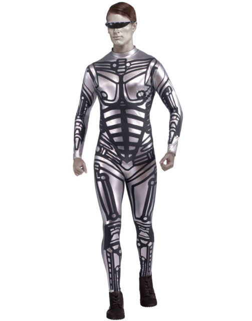 Male Robot Costume Adult Halloween Robocop Fancy Dress Terminator