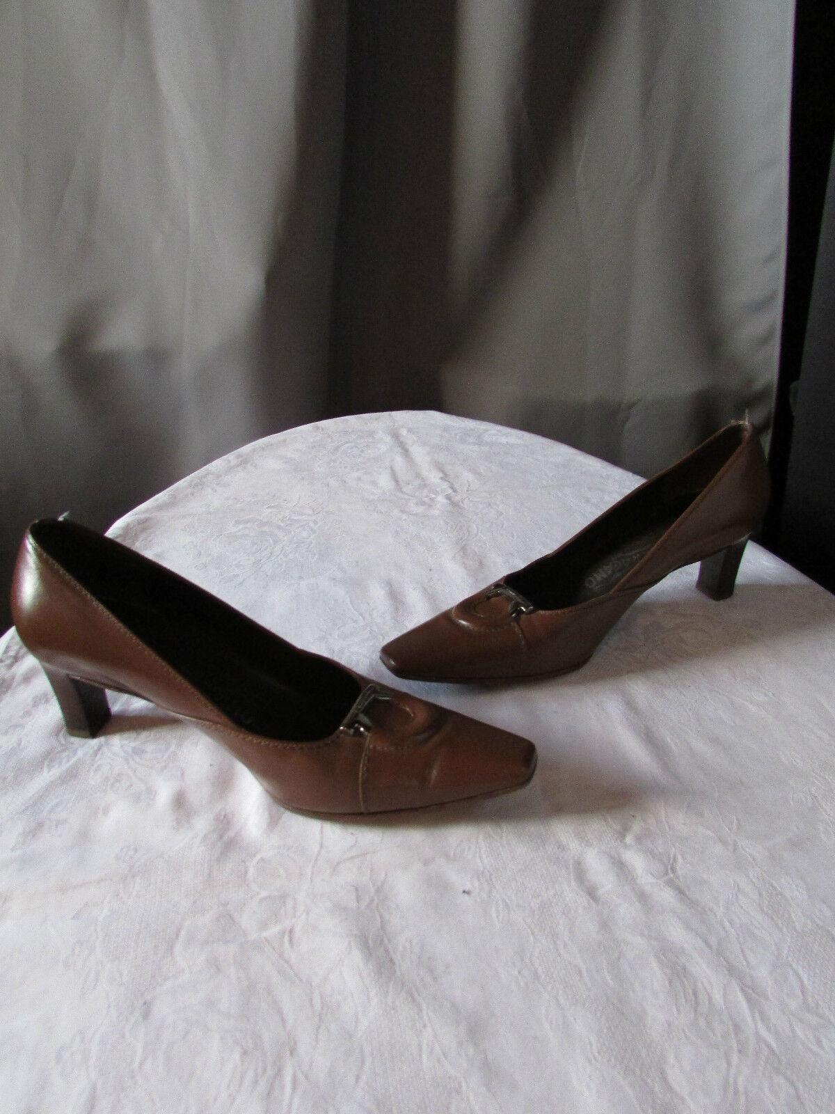 Escarpins salvatore ferragamo cuir marron pointure 6,5