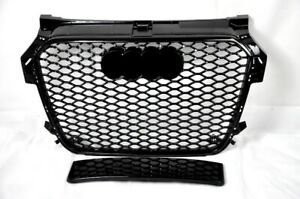 FRONT-GRILL-Look-RS1-BLACK-FOR-AUDI-A1-8X-2015-17-Wabengrill-Grille-Stossstange
