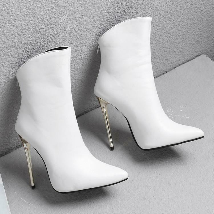 Womens Pointed Toe Short Boots Stiletto High Heel Casual Party Dress Solid shoes