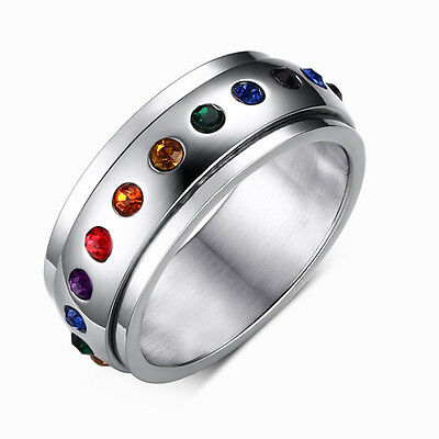 Spinner Rainbow Colorful Rhinestone Titanium Steel Wedding Party Ring Size 5-12