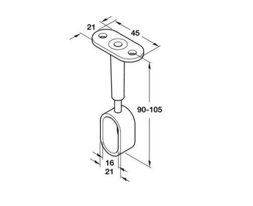OVAL WARDROBE RAIL CENTRE SUPPORTS Brackets 15mm Adjustable Polished Chrome