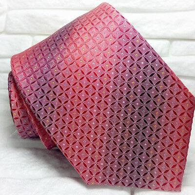 Cravatta Rossa Uomo 100% Seta Made In Italy Jacquard Business Evento