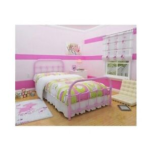 Twin Bed Frame Pink Metal Victorian Bedroom Rustic Steel Cast Iron ...