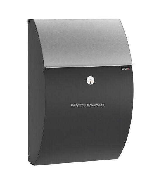 Briefkasten Allux 7000 schwarz mit Edelstahlklappe und Rukoschloß